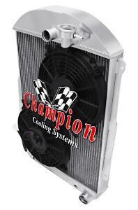 "3 Row Perf Radiator W/ 2 10"" Fans for 1939 Chevrolet Master 85 Chevy V8 Conv"