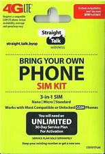 New listing 1 Straight Talk Sim Card Gsm-Phones (At&T T-Mobile) Network Activation Kit-Byop