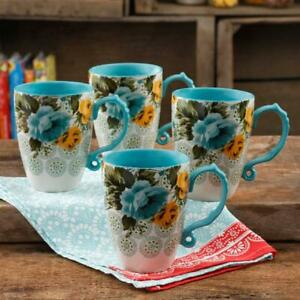 The Pioneer Woman Rose Shadow Jumbo 26-Ounce Latte Mug Set, Set of 4 Teal