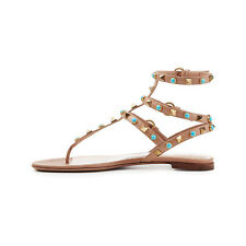 Womens Multicolor T-Strap Gladiator Studded Rivet Flat Summer BeachSandals Zsell