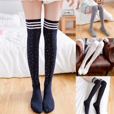 Women Girl Crystal Rhinestone Bling Cotton Socks Over Knee Thigh High Stockings