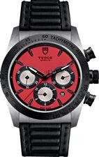 NUOVO Tudor Fastrider CHRONO 42mm quadrante rosso cinturino nero Uomo Watch 42010N-0006