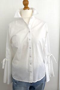 Split Bell Sleeve White Cotton Button Down Shirt Size L-XL