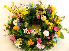 Kranz Blumen Seidenblumen Forsythie Mimose Perlhyazinthe Nigella Kirschblüte