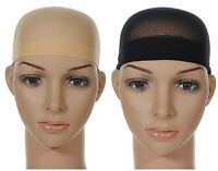 2 Pcs Wig Cap Breathable Stretchable Nylon Stretch Stocking Cap Nude Beige Black