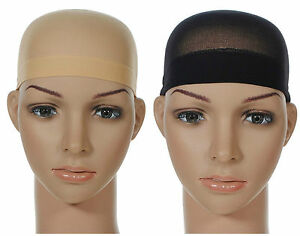 2 Pcs Wig Cap Breathable Stretchable Nylon Stretch Stocking Cap Nude Beige Black