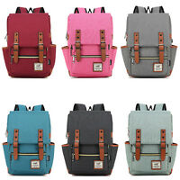 Mens  Vintage Canvas Backpack Rucksack School Laptop Travel Hiking Shoulder Bag