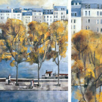 "24W""x36H"" AUTUMN IN PARIS by DIDIER LOURENCO - TREES LAKE RIVER CITY VIEW CANVAS"