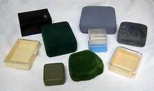 Lot 9 Vintage Jewelry Boxes Display's Velvet Paper Hard Plastic Retro Fun! T50