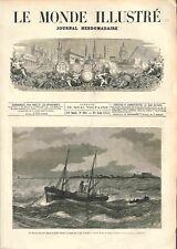 Bateau Pêche à Vapeur Golfe Juan mer Méditerranée Cannes à Antibes GRAVURE 1874