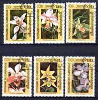 Flora - Orquideas Camboya (27) conjunto completo de 6 sellos matasellados