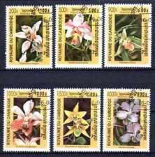 Flora - Orquideas Camboya (27) serie completo de 6 sellos matasellados