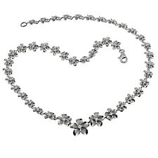 Sterling Silver  8-15mm Plumeria Flowers Necklace 1T