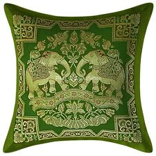 Elephant Indian Cushion Cover Olive Green Brocade Pillow Case Cover Throw