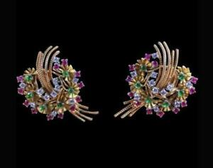 Retro Diamond, Ruby, Emerald & 18K Yellow Gold Over Floral Wreath Motif Earrings