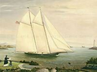 AMERICAN 19TH CENTURY SCHOONER OLD ART PAINTING POSTER PRINT BB4845A