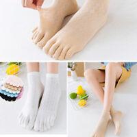 Women Solid Color Toe Socks Five Finger Socks Cotton Soft Funny Socks Hot