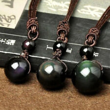 Rope Necklace Pendant Charm Jewelry 1pc 18mm Stone Obsidian Beads Adjustable