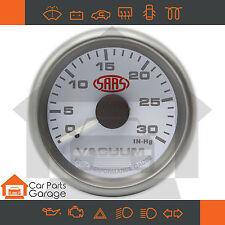 "SAAS 52mm 2"" Vacuum Gauge 0 - 30in-hg Range White Dial Face + Fitting Kit"