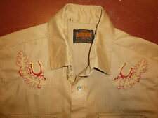 vtg STIR UPS EMBROIDERED WESTERN SHIRT Pearl Snaps 70s Acorn Leaves Horseshoe M