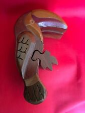 Hand Carved Tucan  Wooden Puzzle Trinket  Box, Secret Compartment