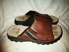 Clarks brown leather mule sandals size 8