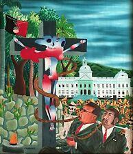 """""""Haiti Crucifiee"""" by A.M. Maurice - Naive Haitian Art - 24 inches x 28 inches"""