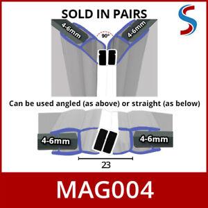 6mmx2M Magnetic 90 Degree Shower Enclosure Pivot Glass Door Magnet Seals x1Pair