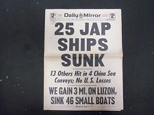1945 JANUARY 13 NEW YORK DAILY MIRROR - 25 JAP SHIPS SUNK - NP 2221