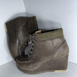 """Clarks Originals 3"""" Wedge Bootie Nubock Leather Dark Brown 64850 Size 8.5 M"""