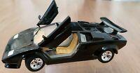 Black Burago Lamborghini Countach 5000 1988 1:24 Diecast Model Car Italy