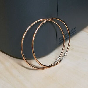 Clip On Fake Big Large 60mm 6cm Rose Gold Ear Hoops Earrings - No Piercing Need