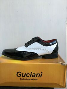 mens faux leather italian shiny spats shoes size 9