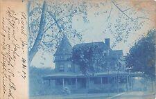 c.1910? RPPC Rural Home Newark ? NJ Cyanotype