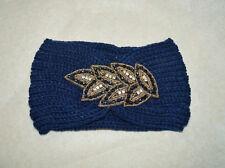 bandeau ,serre tete,bleu avec guipure perlées ,tricot, laine, dentelle, feuilles