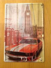 Metal Ford Mustang In London 1960's Muscle Car Wall Art Sign Picture 30 X 20