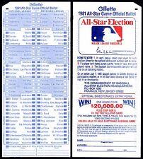1981 MLB ALL-STAR BASEBALL GAME UNUSED MINT FAN BALLOT@CLEVELAND INDIANS STADIUM