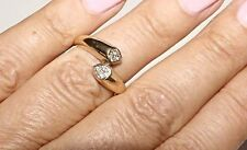 RARE Vintage Authentic CARTIER 18K Yellow Gold 6 Diamond By Pass Ring Band Siz 5