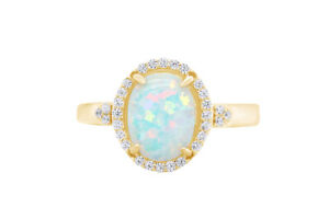 Opal and Simulated Diamond Halo Bridal Ring 14k Yellow Gold Over Silver