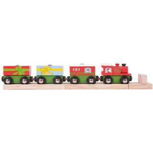 Bigjigs Rail Wooden Christmas Train Locomotive Engine Railway Seasonal Xmas