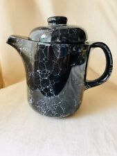 Vintage Waechtersbach Black Teapot Coffee Pot Marble Pattern West Germany