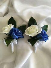 2x Silk Wedding Bridal Flower Royal Blue & Off White Rose Mums Corsages