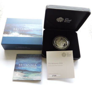 2018 Royal Mint Silver Proof Britannia £2 1 Oz Coin Cased With COA And Outer