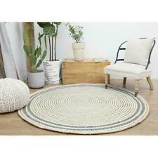 Rugs Jute & Denim 4x4 Feet Round Area Floor Mats Living Room  Reversible Rag Rug