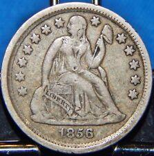 1856 Seated Liberty Silver Dime Full Liberty Small Date Circulated Philadelphia!