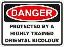Cat Breed ORIENTAL BICOLOUR Danger Sticker Pet for Car Door Locker Bumper