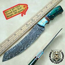 Mt-1203 Custom Handmade Damascus jefe Knife | Camel Bone & Exotic Wood handle