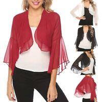 Women Ruffle Sleeve Open Front Solid Color Sheer Bolero Shrugs Chiffon Cardigans