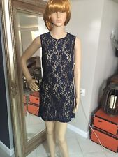 I Love H81 Navy Blue  Lace Shift Dress Size Small Nwt