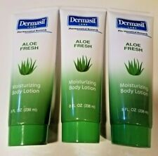 3 PACK Dermasil Aloe Vera Fresh Moisturizing Body Lotion for Dry Skin 8 Oz Each